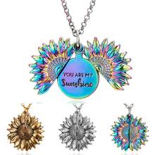2019 New Women Colorful Necklace Engraved You Are My Sunshine Open Locket Sunflower Pendant Necklace Vintage Jewelry Lover Gift(China)