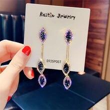 FYUAN-Pendientes colgantes de hoja de borla larga para mujer, aretes colgantes de Cristal púrpura exquisita, joyería para fiesta, regalos