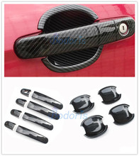 For Ford Ranger T6 T7 2012-2018 Carbon Fiber Color Door Handle Cover Bowl  Insert Trim Grab Panel Car-Styling Accessories