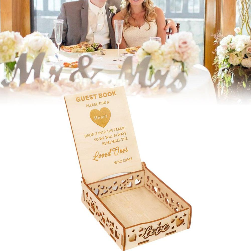 TWISTER.CK Wooden Wedding Signature Box For Guests Message Leaving Decoration(Not Including Wood Chip)