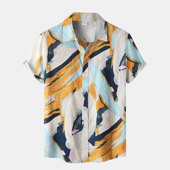 Męska koszula na co dzień Camisas Beach Splice drukuj krótki guzik na rękawie skrócona koszula z kołnierzykiem nadruk w stylu Vintage hawajskie koszule dla mężczyzn tanie i dobre opinie CN (pochodzenie) POLIESTER Solo KOSZULE CODZIENNE SHORT Plaża summer Wykładany kołnierzyk Jednorzędowe REGULAR Hawaiian Beach Flower Shirt Men s Shirt