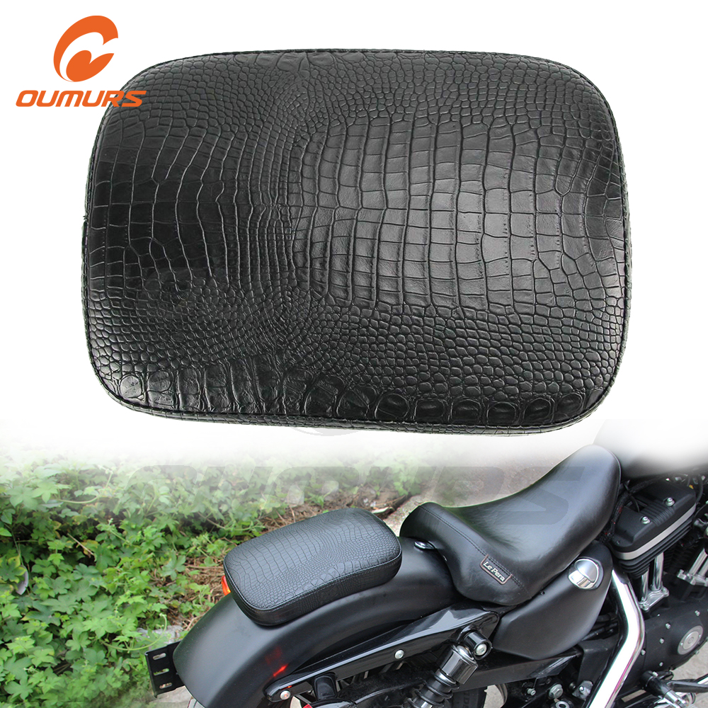OUMURS Motorcycle Suction Cup Rear Pillion Passenger Pad Seat Black For Harley Bobber Chopper Rear Pillion Passenger Pad Seat