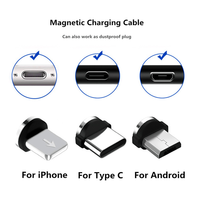 Round Magnetic Cable Plug Type C Micro USB C 8 Pin Plugs Fast Charging Adapter