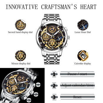 WISHDOIT 2020 New Fashion Men Watch  Calendar Stainless Steel Top Brand Luxury Sports Chronograph Quartz Watch Relogio Masculino 2
