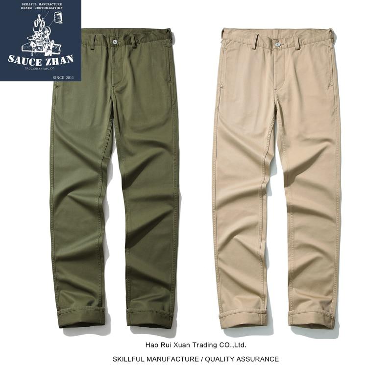 SauceZhan Navy Officer Pants Cargo Pants Khaki Casual Pants Pure Cotton Trousers Men Casual Pants Spring and Autumn Pants Men