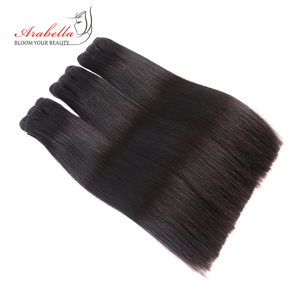 Super Double Drawn Straight Hair Bundles With 13*4 Lace Frontal Arabella Vrigin Hair 100%   Bundles 2