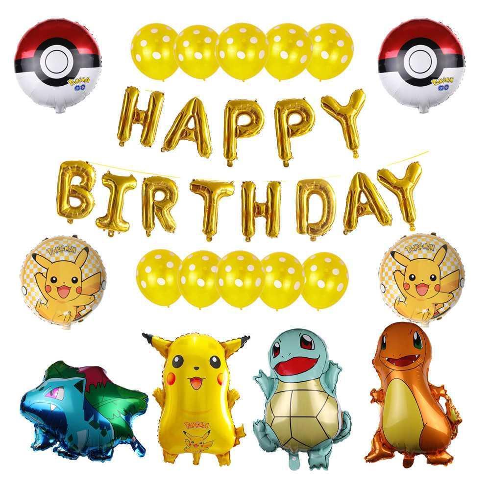 Покемон тематический набор воздушных шаров для вечеринки в честь Дня Рождения, мультяшная фигурка Пикачу, фольгированные воздушные шары, Т...
