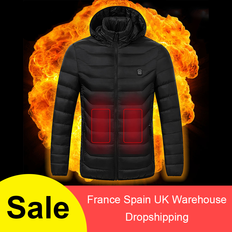 Men Women Heated Jackets Outdoor Vest Coat USB Electric Battery Long Sleeves Heating Hooded Jackets Warm Winter Thermal Clothing