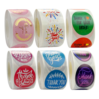 """500pcs Thank You Stickers Roll For Business 1.5"""" Round Bronzing Gift Sealing Stickers Wedding Festival Handmade Stickers Roll 1"""