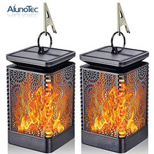 2 Pack Solar Lantern Lights Dancing Flame Waterproof Outdoor Hanging Powered Umbrella LED Night Lamp Landscape Garden Decoration(China)