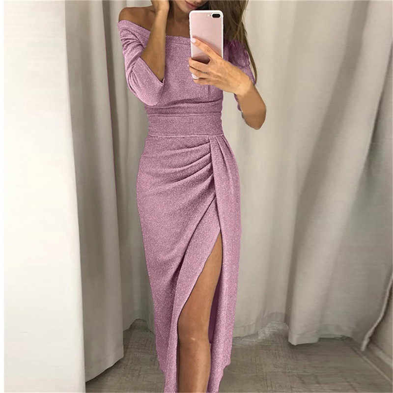 Litthing Sexy Off Shoulder Party Dress Women High Slit Peplum Bodycon Dress Autumn Three Quarter Sleeve Bright Silk Shiny Dress