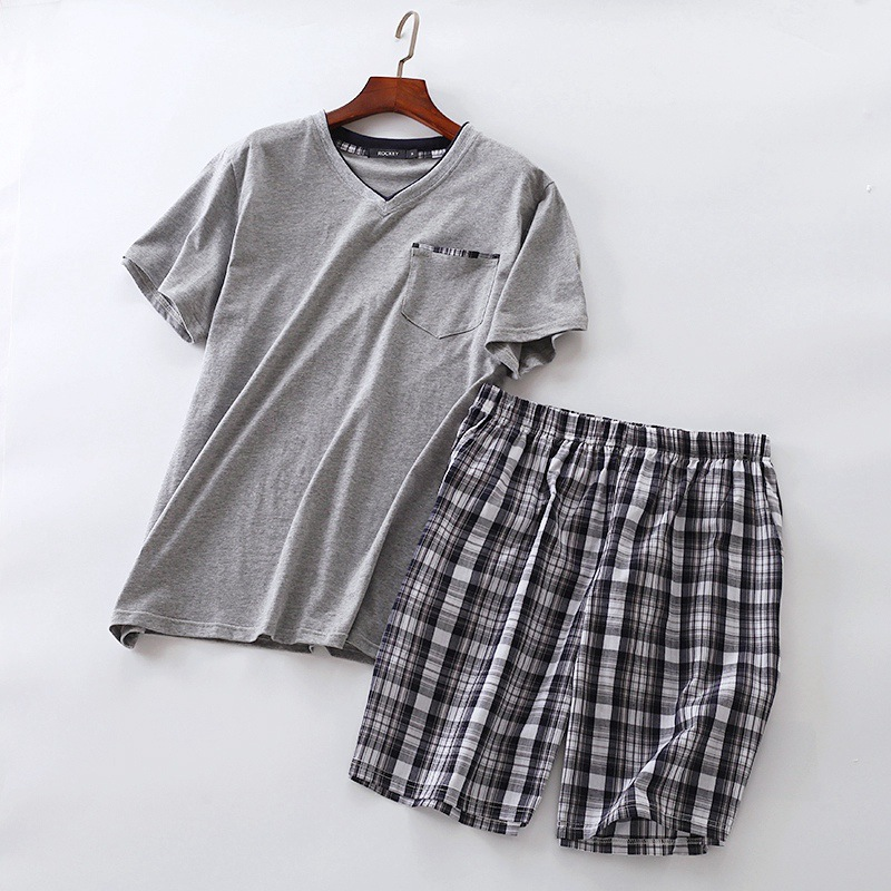 Summer Men Home Wear Short Sleeve Short Pants Pajama Sets Male Cotton Indoor Clothing