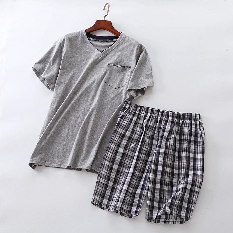 Summer Men Home Wear Short Sleeve Short Pants Pajama Sets Male Cotton Indoor Clothing