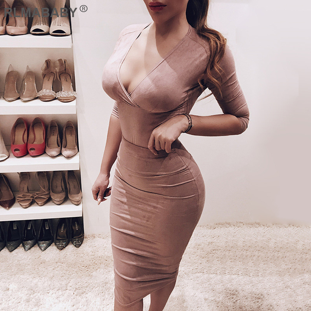 RLMABABY Sexy V Neck Criss Cross Suede Midi Dress Women Autumn Winter Long Sleeve Bodycon Ladies Dress Casual Christmas Dress
