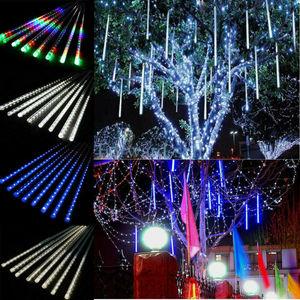 Wasserdicht 3 farben EU/US/UK Stecker Girlande 8 Rohre LED Meteor Dusche Regen string licht 50cm 30cm Eiszapfen Schneefall Weihnachten dekoration