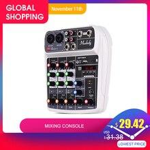 Muslady AI 4 קומפקטי ערבוב קונסולת Reverb אפקט דיגיטלי אודיו מיקסר BT MP3 USB קלט + 48V פנטום כוח עבור הקלטת מוסיקה