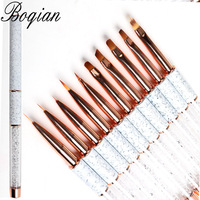 BQAN Marbled Rose Gold Nail Brush Gel Brush For Manicure Acrylic UV Gel Extension Pen For Nail Polish Painting Drawing Brush