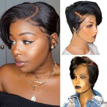 Maxine Peri Kesim Peruk 13x4 Kısa Bob Dantel Ön İnsan Saç Peruk Ön Koparıp Bebek Saç Ile siyah Kadınlar için 150 Yoğunluk