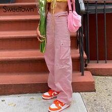 Sweetown różowe workowate spodnie z szerokimi nogawkami kobiece duża kieszeń Patchwork Cargo spodnie Streetwear na co dzień, z wcięciem w talii wycięte proste spodnie Y2K