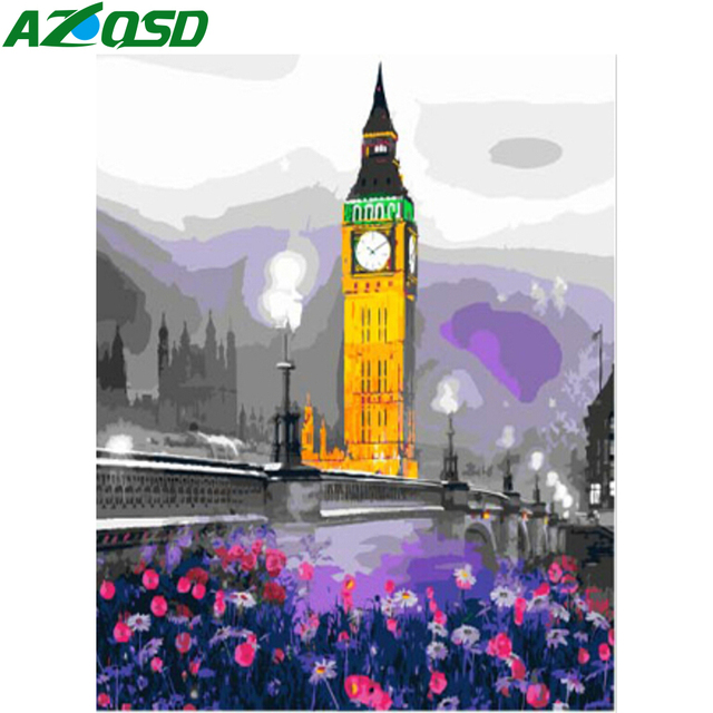 London City Scape Painting By Numbers Kit Big Ben Flowers