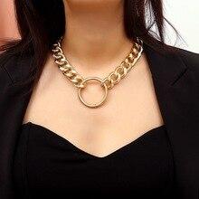 Простой дизайн, панк, металлическое ожерелье-чокер для женщин, большая толстая цепочка, круглый полый кулон, ожерелье, ювелирные изделия, Новая мода