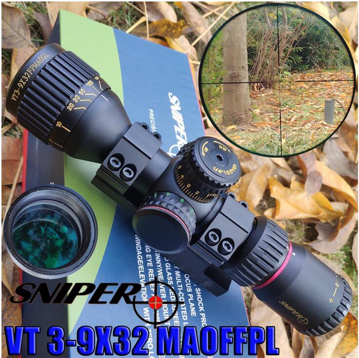 SNIPER VT 3-9X32FPMAOGL Hunting Compact Optical Sight Tactical Riflescope Glass Etched Reticle Red Green Llluminate Rifle Scope