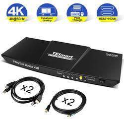 TESmart مفتاح ماكينة افتراضية معتمدة على النواة 4x2 HDMI + HDMI شاشة مزدوجة KVM 4K @ 60Hz 4:4:4
