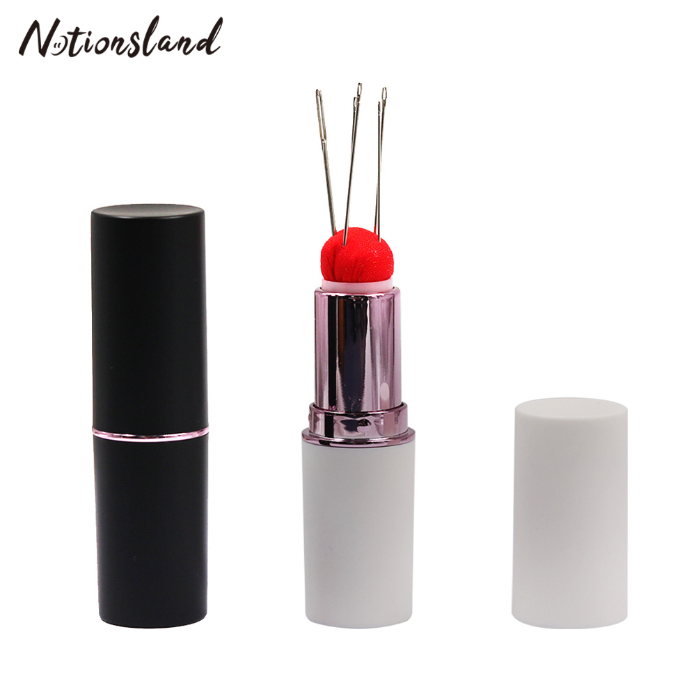 Pack of 4 Needle Storage Case Pin Cushion with Needles Kit for Embroidery Crafting DIY Cute Lipstick Pillow