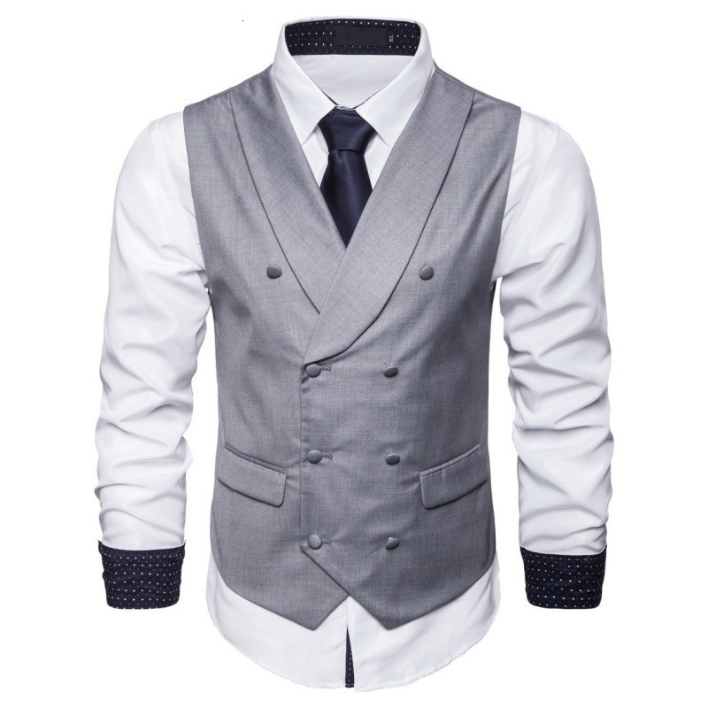 2020 New Autumn Solid Mens Vest Fashion Double Breasted Sleeveless Jacket  Business Casual Slim Fit Suit Vest Plus Size S-5XL