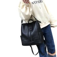 Fashion Women's Backpack PU Leather Travel Handbag Shoulder Bag Black Satchel Ladies Backpacks Simple Zipper Bag stylish women s satchel with pu leather and zipper design