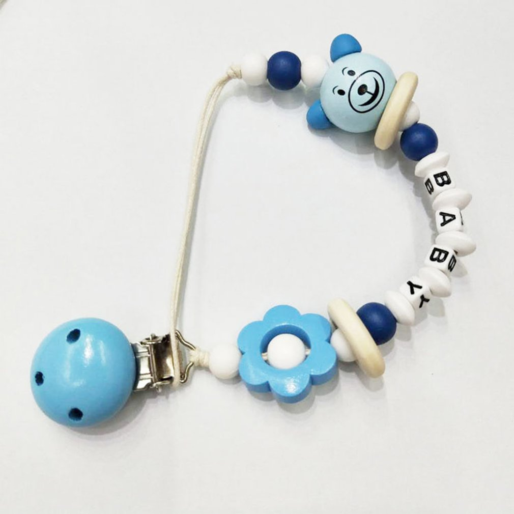 Cute Baby Silicone Pentagram Teething Dummy Pacifier Clip Bead Infant Soother Nipple Strap Chain