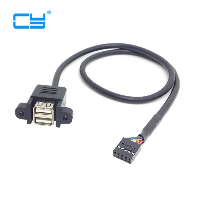 30cm 50cm 100cm  Motherboard Internal 9pin Pitch 2.54mm To Dual Port USB 2.0 A Female Screw Lock Panel Mount Cable