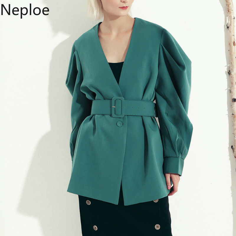 Neploe Retro Solid Blazers V Neck Batwing Long Sleeve Solid Jacket Slim Waist Belt Single Button Coat Autumn Spring Coat 47612
