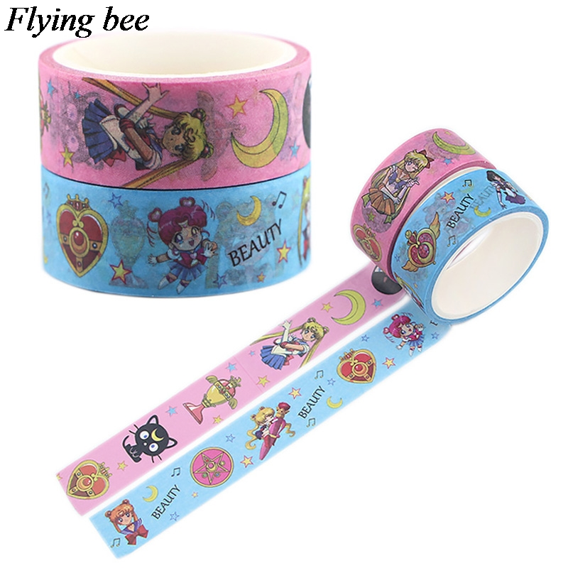 Flyingbee 15mmX5m Girls  Paper Washi Tape Cartoon Cute Adhesive Tape DIY Decorative Girls Masking Tapes Supplies X0560