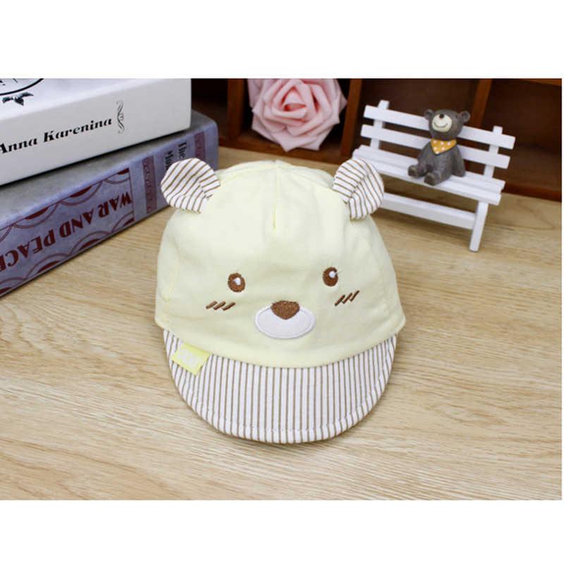 Brand New 4 kolory nowonarodzone dzieci Baby Boy dziewczyna czapki czapki baseballowe Unisex niedźwiedź paski kapelusze słodki miś mała czapka z uszami prezenty