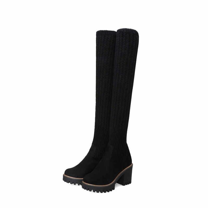 MEMUNIA 2020 yeni kadın diz çizmeler üzerinde sivri burun sonbahar yüksek topuklu platform ayakkabılar bayanlar streç botları büyük boy 48