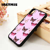 Iretmis 5 5S SE 6 6S TPU Silicone Rubber phone case cover for iPhone 7 8 plus X Xs 11 Pro Max XR Pink butterflies Beautiful