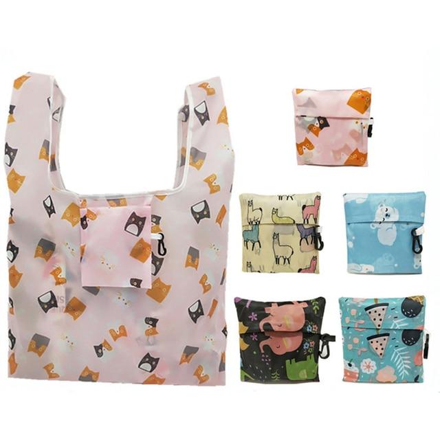 GABWE New Flamingo Recycle Shopping Bag Eco Reusable Shopping Tote Bag Cartoon Floral Shoulder Folding Pouch Handbags Printing 3