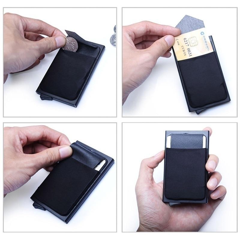 Men Business Aluminum  Cash ID Card Holder RFID Blocking Slim Metal Wallet Coin Purse card case  credit card wallet rfid wallet 5