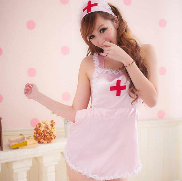 Vrouwen Sexy Lingerie Verpleegster Cosplay Kostuums Babydoll Lace Erotische Sexy Ondergoed Erotische Ondergoed Babydoll Nachtkleding Roze/Wit