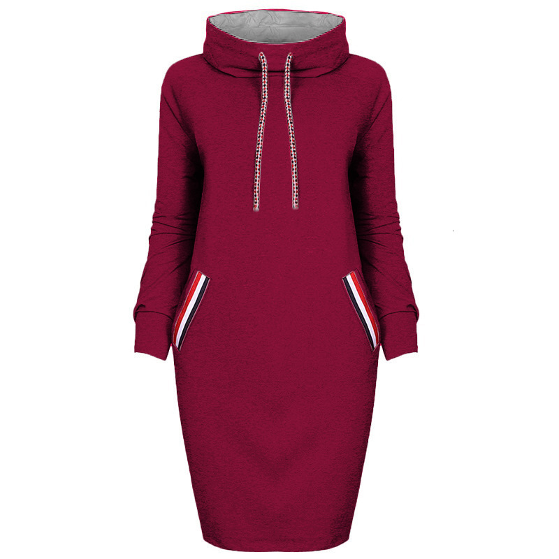 VOZRO Multicolor High Lead Long Sleeve Package Buttocks Winter Maxi Autumn Casual Sweater Red Dress Women Vestido Clothes Befree 29