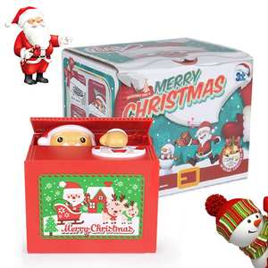 Jar Counter Piggy-Bank Money Santa-Claus Electric Steal Coins for USD Xmas/gifts Storage-Box