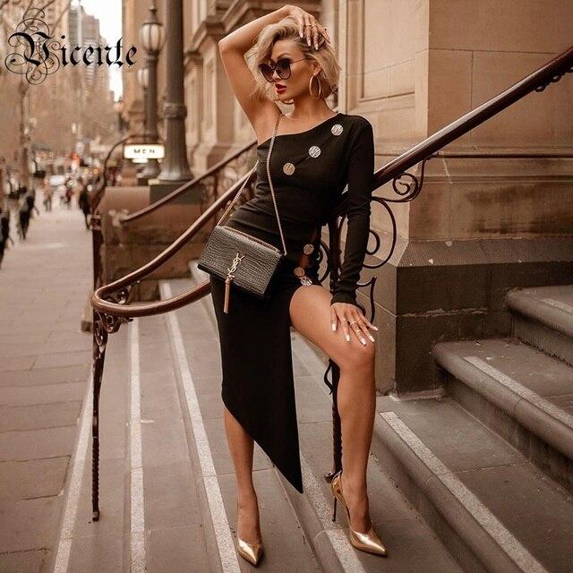 VC 2020 tout livraison gratuite nouveau à la mode asymétrique Sexy une épaule à manches longues bouton conception célébrité fête robe de pansement