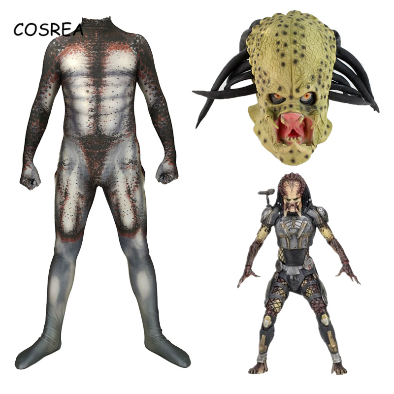 Movie Alien Vs. Predator Cosplay Costume Bodysuit Adult Zentai Halloween PredatorCosplay Jumpsuit With Mask For Mens Kids