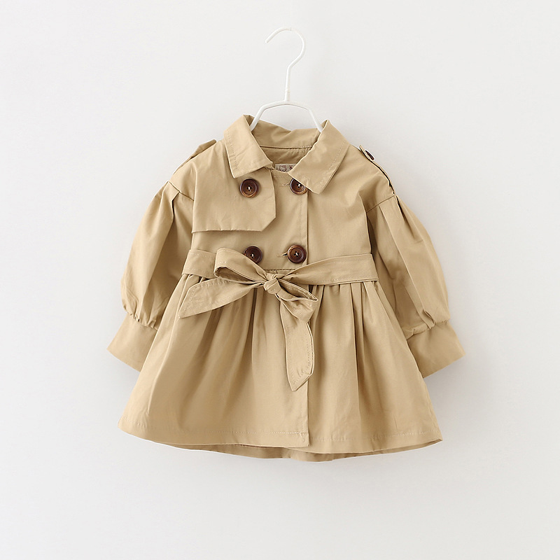 Girls Trench Coat Fashion New Baby Girl Windbreaker 2019 Autumn Winter Children's Christmas Clothes Baby Clothes Khaki Jacket