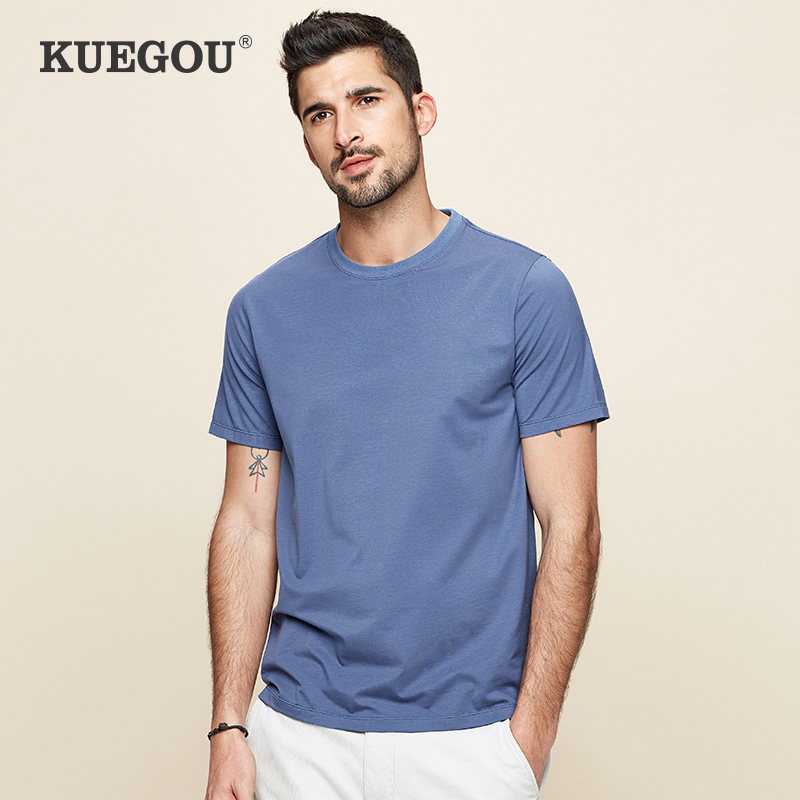 KUEGOU Smooth Cotton Modal Cool White Men's T-shirt Short Sleeves Summer Clothes Fashion Tshirt For Men Top Plus Size DT-5939
