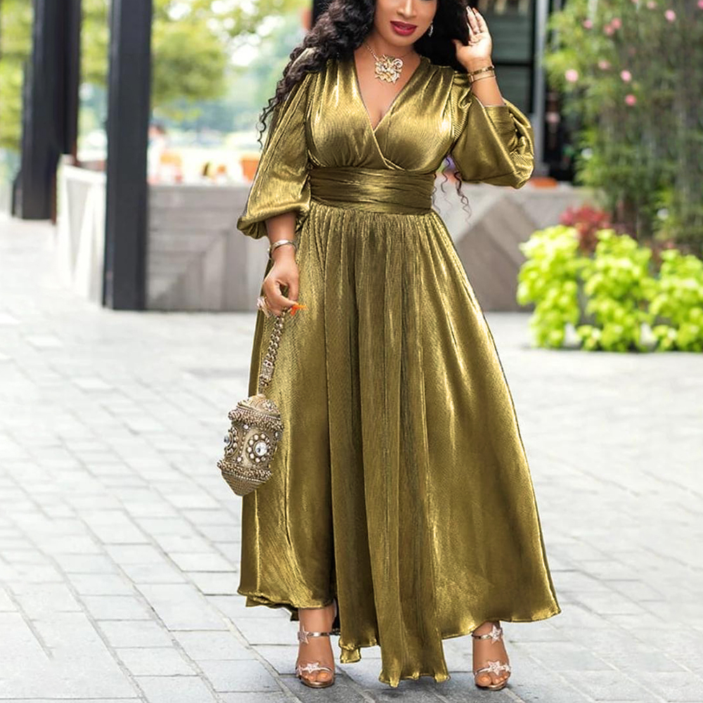 Sexy Party Dresses Plus Size Luxury Golden Glitter Split V Neck Women High Waist Tunic Night Club Long Sleeve Pleated Dress 2019