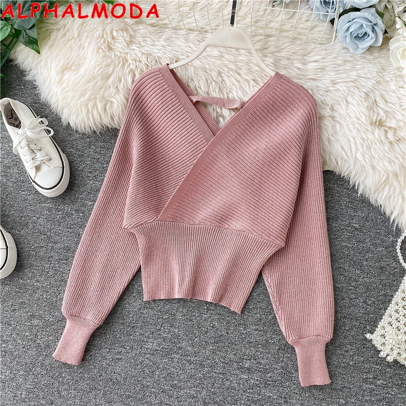 ALPHALMODA 2019 Autumn Winter Women Sparkling Knitting Sweater Jumper Solid Color Pullover Bat-sleeve Female Casual Outfit