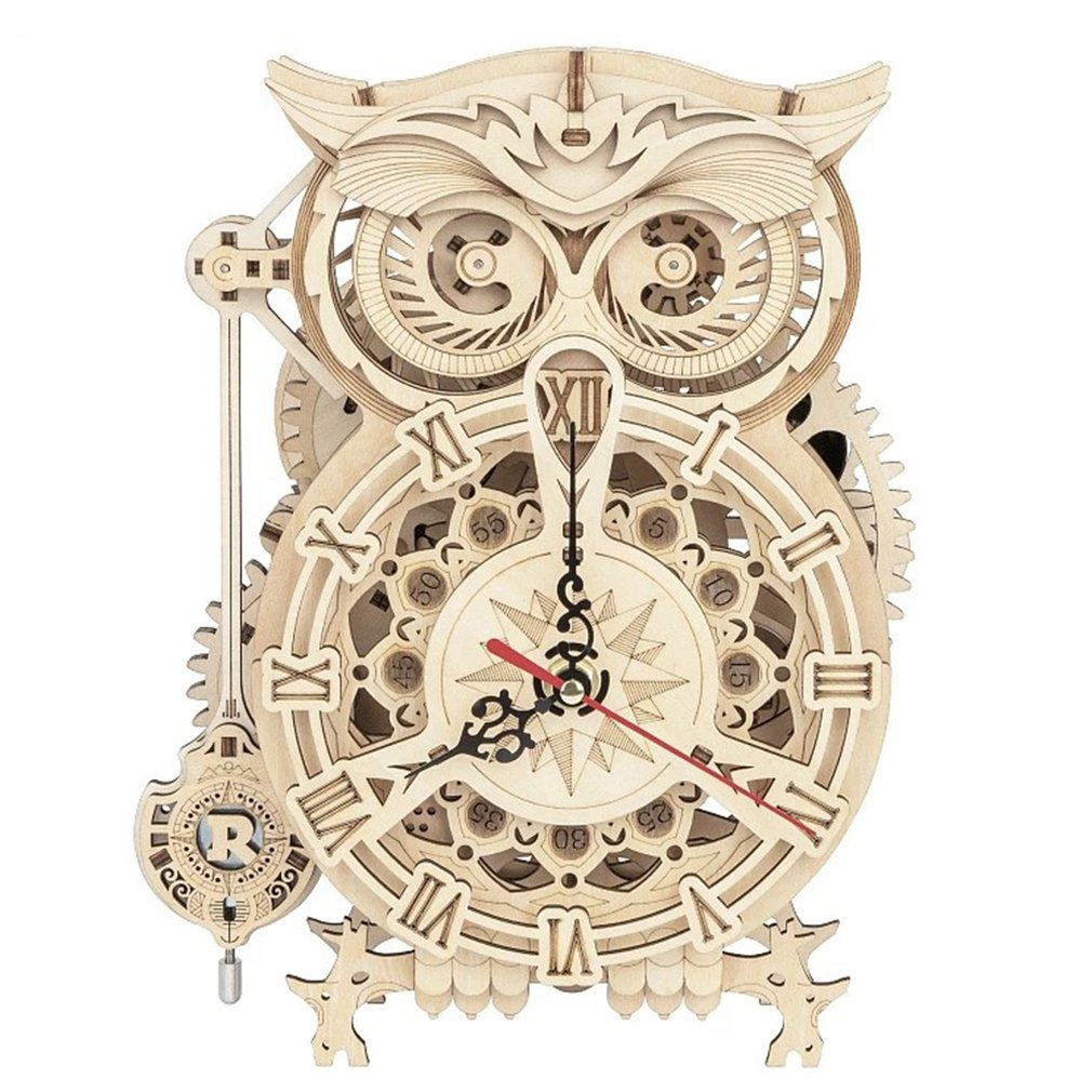 Creative DIY 3D Owl Clock Wooden Model Building Block Kits Assembly Toy Gift for Children And Adult.