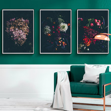 Nordic Modern Canvas Painting Dark Background Flowers Poster Wall Art Pictures For Living Room Bedroom Dining Room Studio(China)
